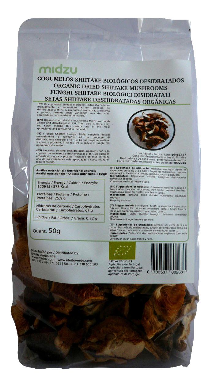 Cogumelos Shiitake desidratados biológicos laminados Midzu 50 g