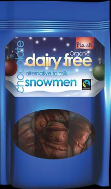 Bonecos de neve de chocolate biológico de comércio justo 125g - sem glúten