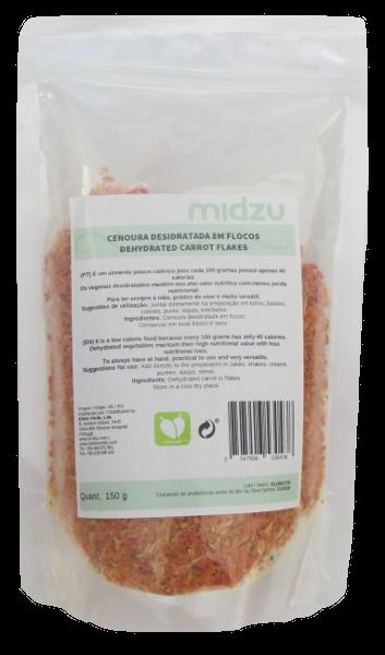 Cenoura desidratada em flocos Midzu 150 g